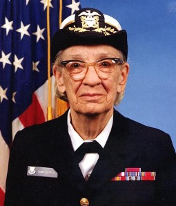 Commodore Grace M. Hopper, USNR Official portrait photograph, by James S. Davis. Public domain.