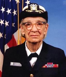 Commodore Grace M. Hopper, USNR Official portrait photograph, by James S. Davis. Public domain.