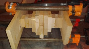 One-inch blocks of wood glued together before lathing.
