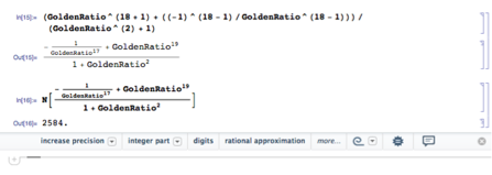 Figure 3-Computing the 18th Fibonacci Number in Mathematica.